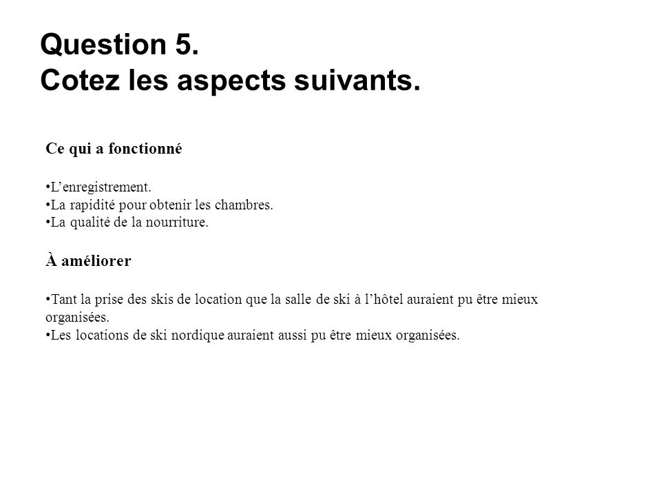 Question 5. Cotez les aspects suivants. Ce qui a fonctionné Lenregistrement.
