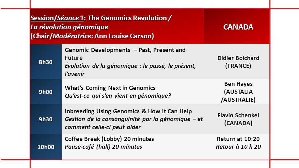 Session/Séance 1: The Genomics Revolution / La révolution génomique (Chair/Modératrice: Ann Louise Carson) CANADA8h30 Genomic Developments – Past, Pre
