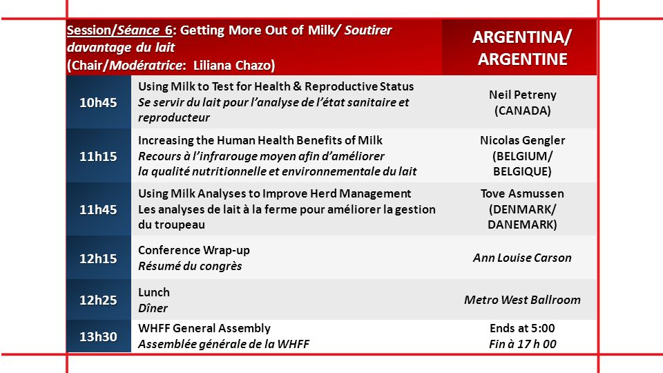 Session/Séance 6: Getting More Out of Milk/ Soutirer davantage du lait (Chair/Modératrice: Liliana Chazo) ARGENTINA/ARGENTINE10h45 Using Milk to Test for Health & Reproductive Status Se servir du lait pour lanalyse de létat sanitaire et reproducteur Neil Petreny (CANADA) 11h15 Increasing the Human Health Benefits of Milk Recours à linfrarouge moyen afin daméliorer la qualité nutritionnelle et environnementale du lait Nicolas Gengler (BELGIUM/ BELGIQUE) 11h45 Using Milk Analyses to Improve Herd Management Les analyses de lait à la ferme pour améliorer la gestion du troupeau Tove Asmussen (DENMARK/ DANEMARK) 12h15 Conference Wrap-up Résumé du congrès Ann Louise Carson 12h25 Lunch Dîner Metro West Ballroom 13h30 WHFF General Assembly Assemblée générale de la WHFF Ends at 5:00 Fin à 17 h 00