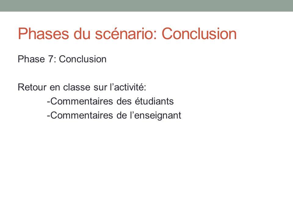 Phases du scénario: Conclusion Phase 7: Conclusion Retour en classe sur lactivité: -Commentaires des étudiants -Commentaires de lenseignant