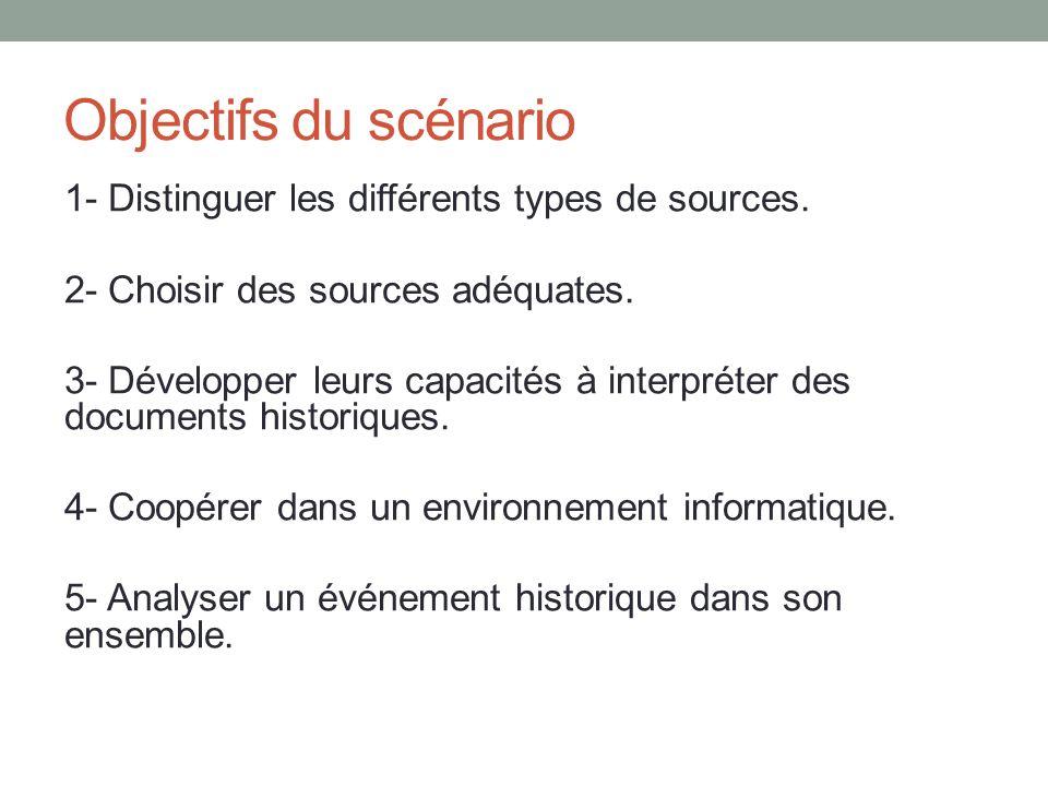 Objectifs du scénario 1- Distinguer les différents types de sources. 2- Choisir des sources adéquates. 3- Développer leurs capacités à interpréter des