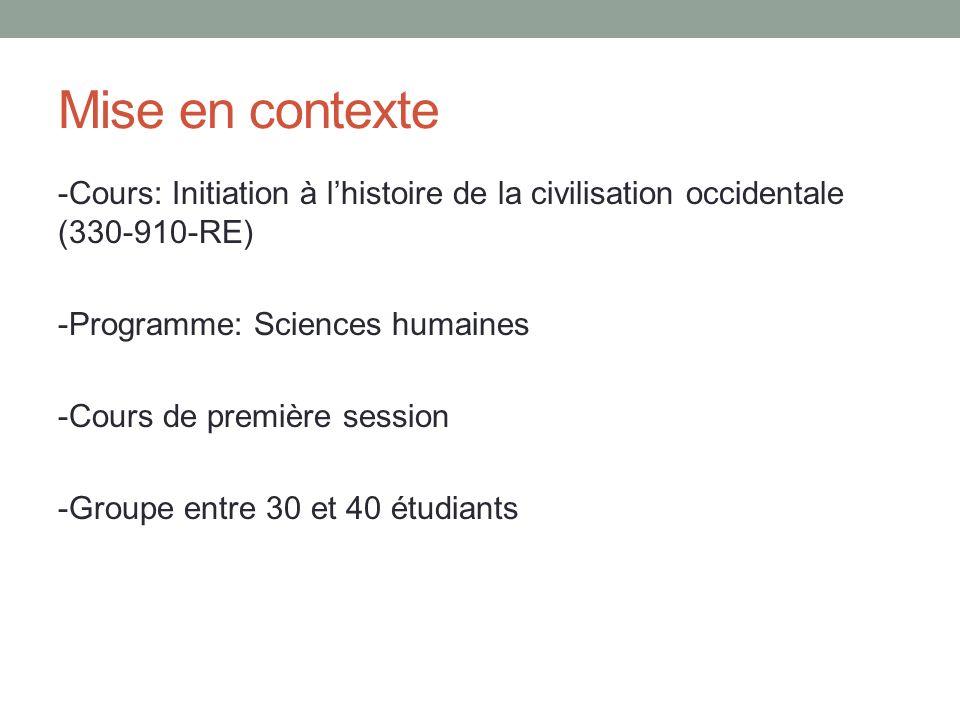 Mise en contexte -Cours: Initiation à lhistoire de la civilisation occidentale (330-910-RE) -Programme: Sciences humaines -Cours de première session -