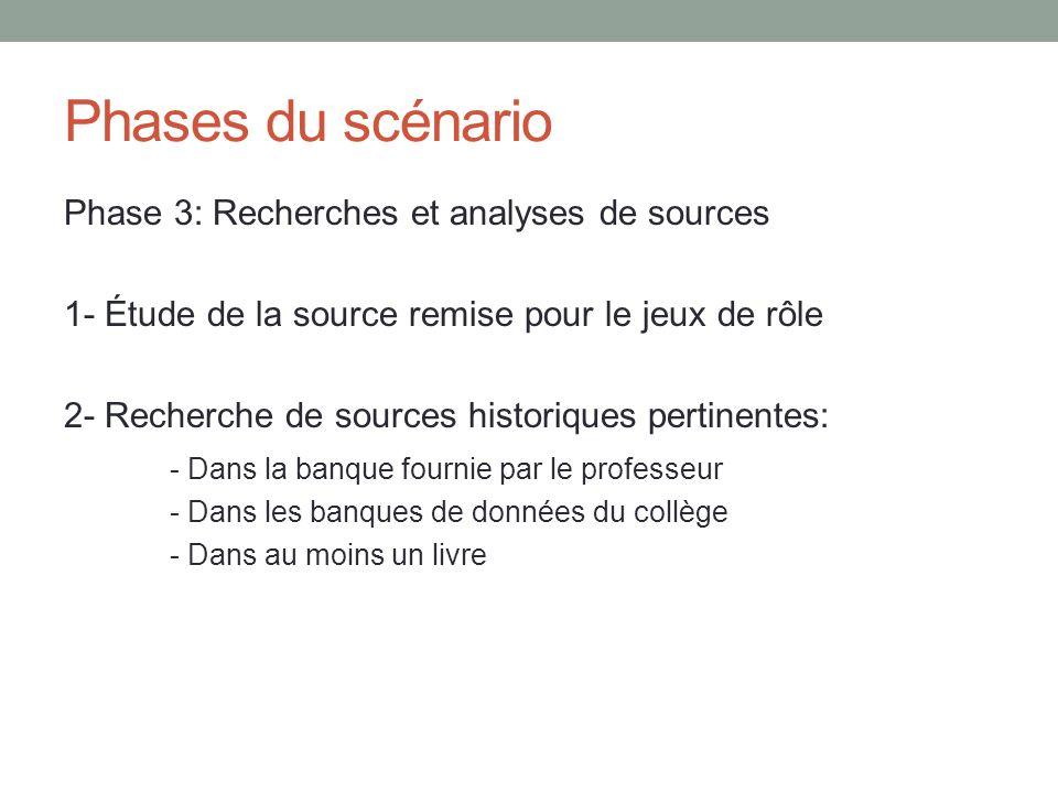 Phases du scénario Phase 3: Recherches et analyses de sources 1- Étude de la source remise pour le jeux de rôle 2- Recherche de sources historiques pe