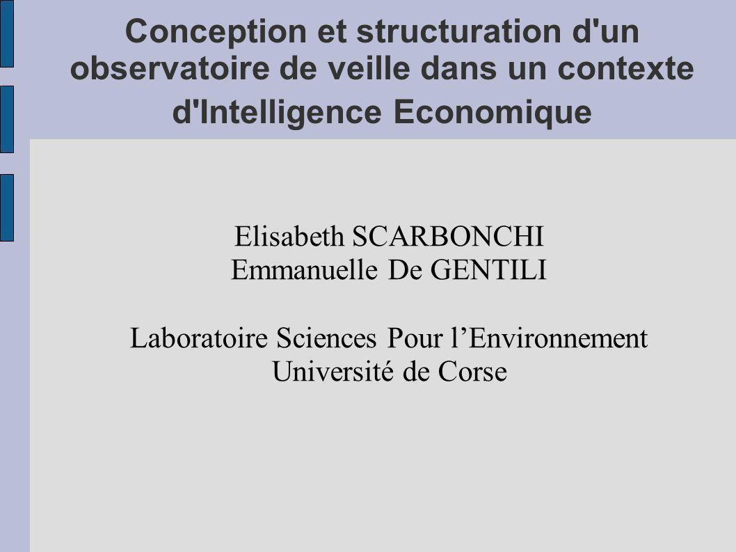 Conception et structuration d'un observatoire de veille dans un contexte d'Intelligence Economique Elisabeth SCARBONCHI Emmanuelle De GENTILI Laborato