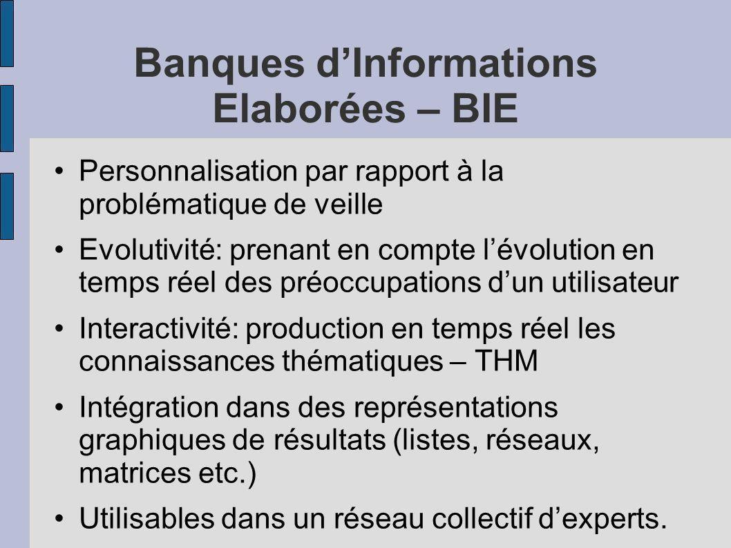 Banques dInformations Elaborées – BIE Personnalisation par rapport à la problématique de veille Evolutivité: prenant en compte lévolution en temps rée