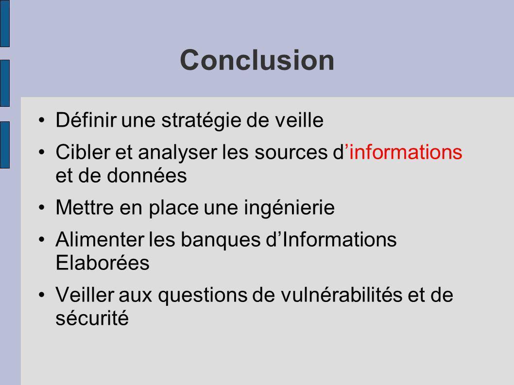 Conclusion Définir une stratégie de veille Cibler et analyser les sources dinformations et de données Mettre en place une ingénierie Alimenter les ban