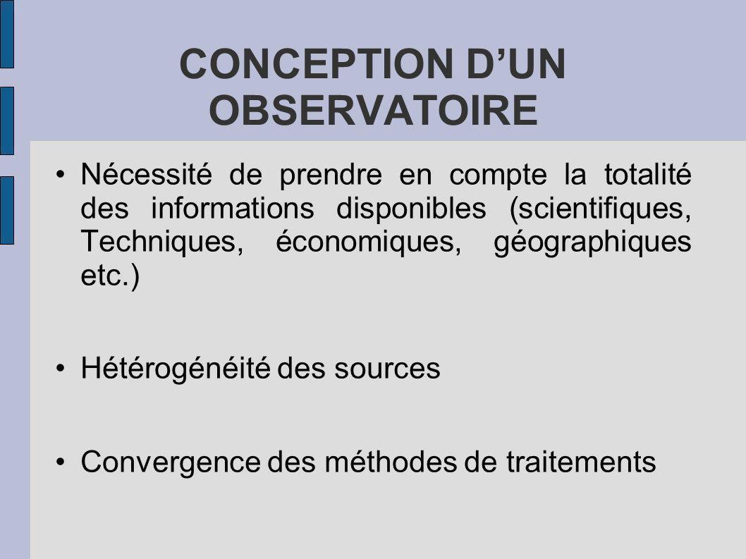 CONCEPTION DUN OBSERVATOIRE Nécessité de prendre en compte la totalité des informations disponibles (scientifiques, Techniques, économiques, géographi