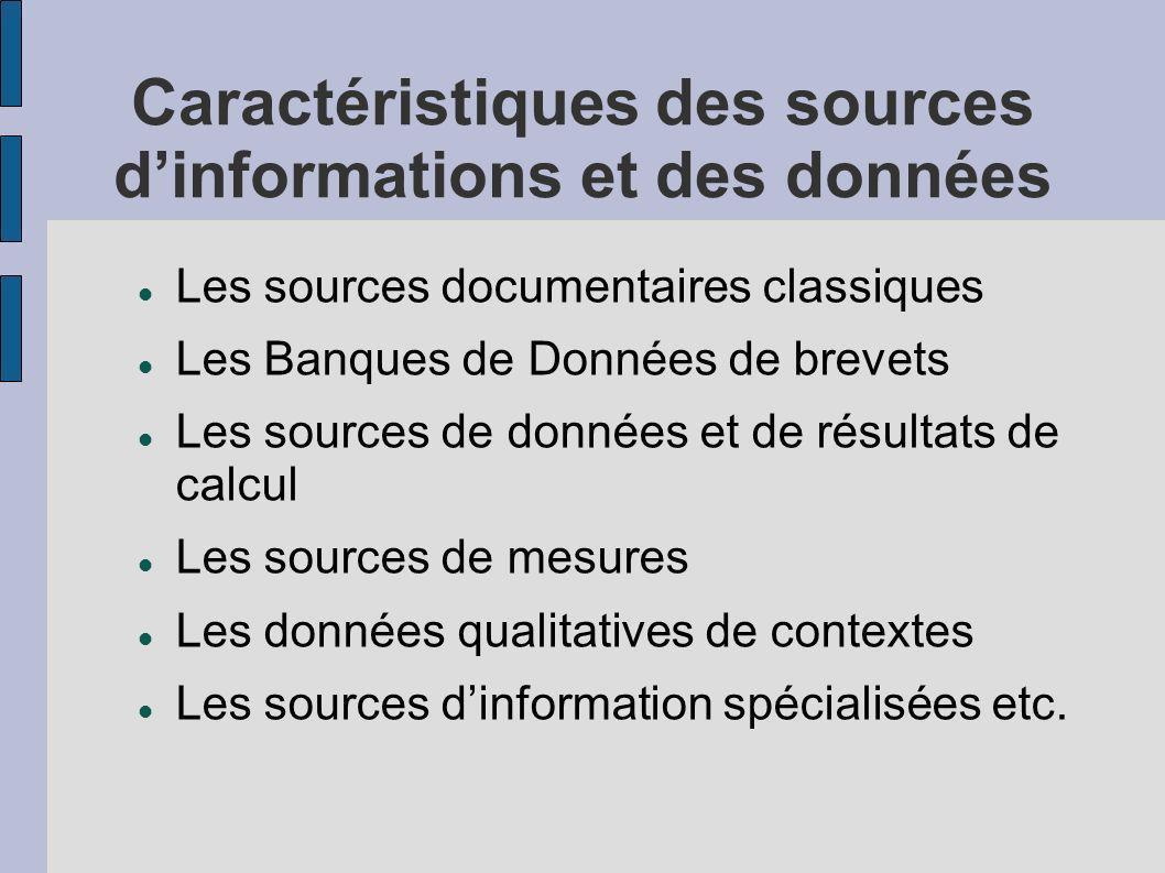 Typologie des sources et des données Sources documentaires Données factuelles Qualitatif Quantitatif Informations textuelles Banque de données de références etc.