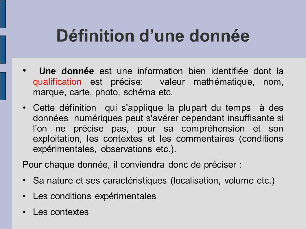 Définition dune donnée Une donnée est une information bien identifiée dont la qualification est précise: valeur mathématique, nom, marque, carte, phot