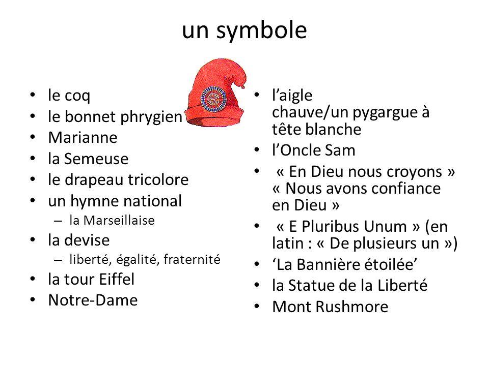 un symbole le coq le bonnet phrygien Marianne la Semeuse le drapeau tricolore un hymne national – la Marseillaise la devise – liberté, égalité, frater