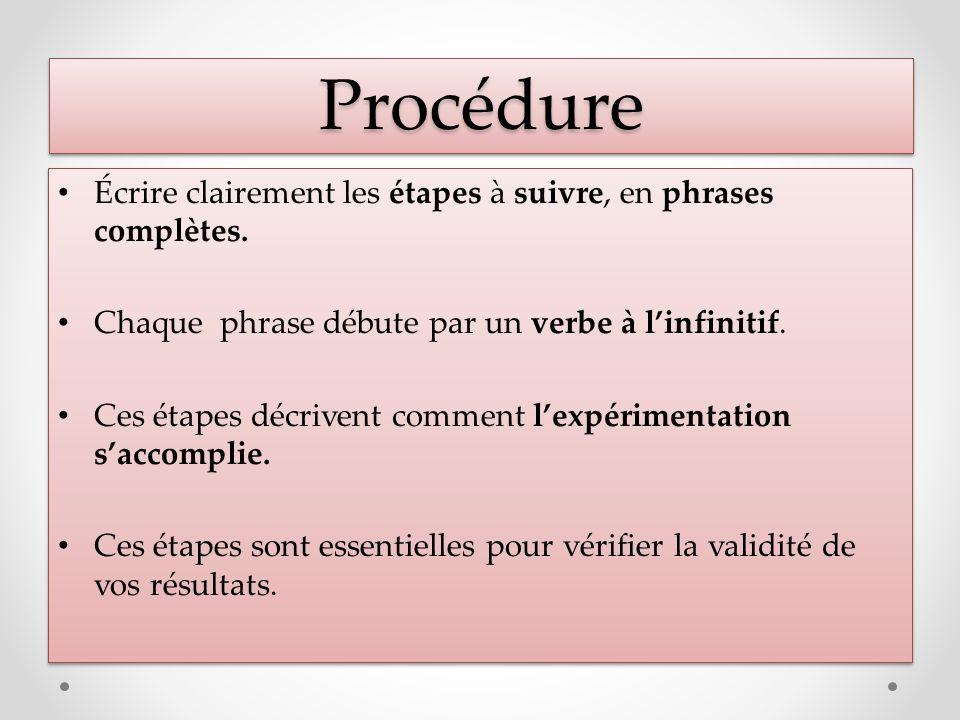 ProcédureProcédure Écrire clairement les étapes à suivre, en phrases complètes. Chaque phrase débute par un verbe à linfinitif. Ces étapes décrivent c
