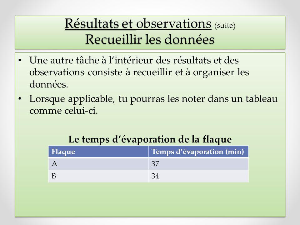 Résultats et ) Recueillir les données Résultats et observations (suite) Recueillir les données Une autre tâche à lintérieur des résultats et des obser
