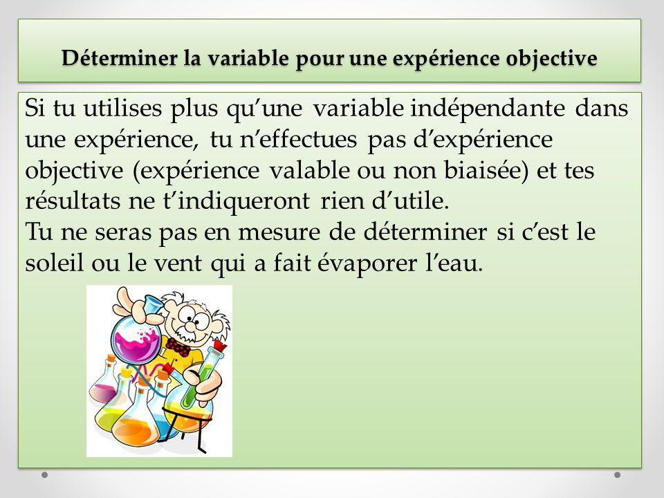 Si tu utilises plus quune variable indépendante dans une expérience, tu neffectues pas dexpérience objective (expérience valable ou non biaisée) et te