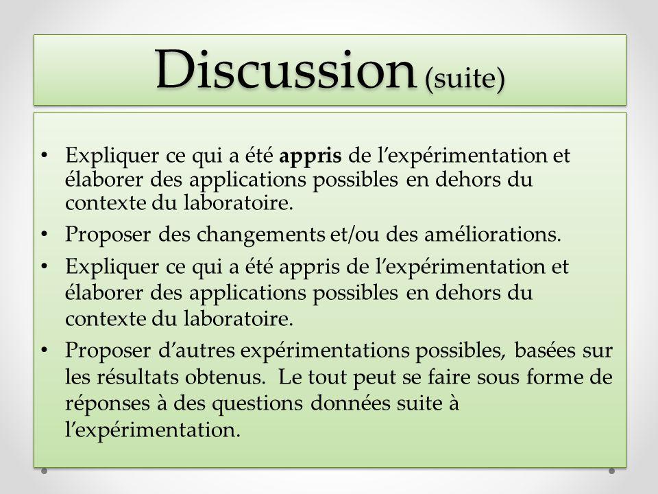 Discussion (suite) Expliquer ce qui a été appris de lexpérimentation et élaborer des applications possibles en dehors du contexte du laboratoire. Prop