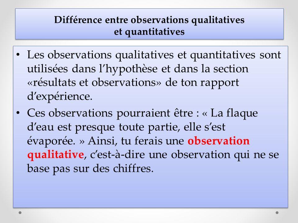 Les observations qualitatives et quantitatives sont utilisées dans lhypothèse et dans la section «résultats et observations» de ton rapport dexpérienc