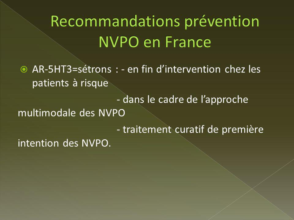 AR-5HT3=sétrons : - en fin dintervention chez les patients à risque - dans le cadre de lapproche multimodale des NVPO - traitement curatif de première intention des NVPO.