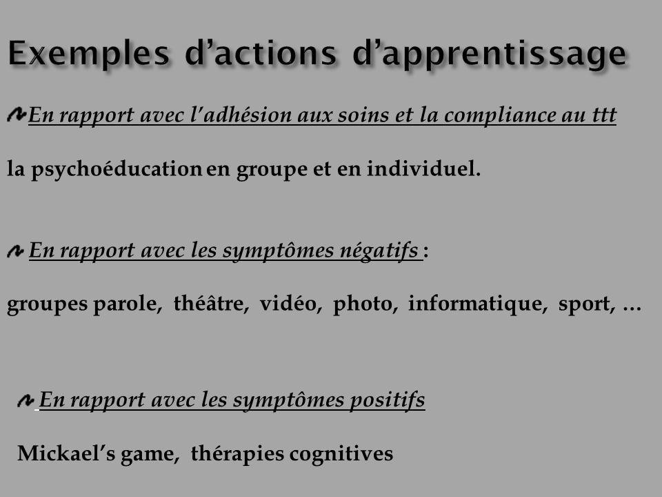En rapport avec ladhésion aux soins et la compliance au ttt la psychoéducation en groupe et en individuel. En rapport avec les symptômes négatifs : gr
