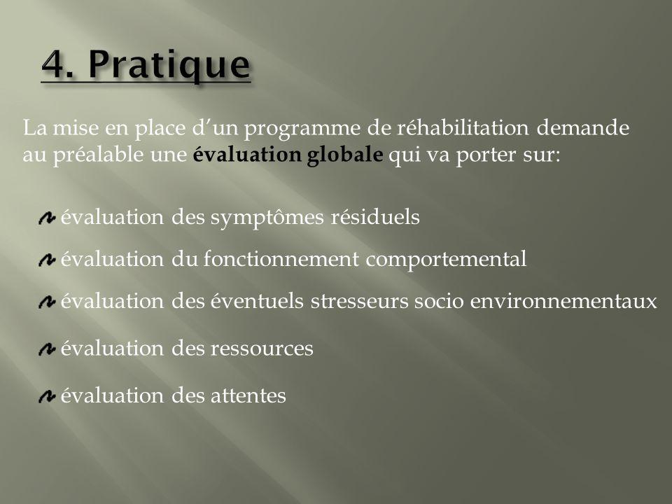 La mise en place dun programme de réhabilitation demande au préalable une évaluation globale qui va porter sur: évaluation des symptômes résiduels évaluation du fonctionnement comportemental évaluation des éventuels stresseurs socio environnementaux évaluation des ressources évaluation des attentes