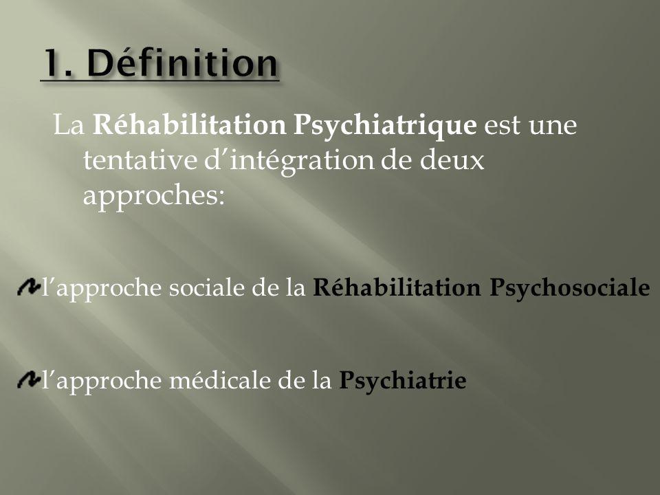 La Réhabilitation Psychiatrique est une tentative dintégration de deux approches: lapproche médicale de la P sychiatrie lapproche sociale de la R éhabilitation Psychosociale