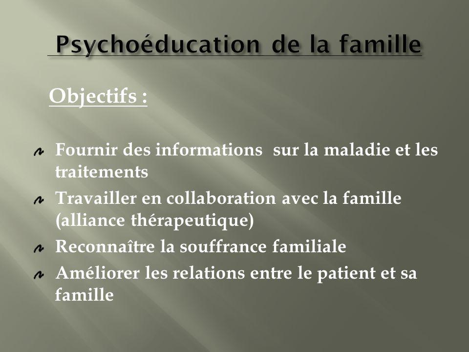Fournir des informations sur la maladie et les traitements Travailler en collaboration avec la famille (alliance thérapeutique) Reconnaître la souffra