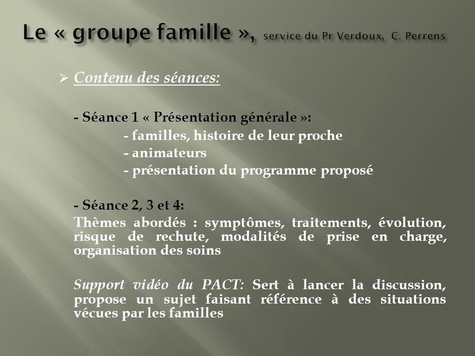 Contenu des séances: - Séance 1 « Présentation générale »: - familles, histoire de leur proche - animateurs - présentation du programme proposé - Séan