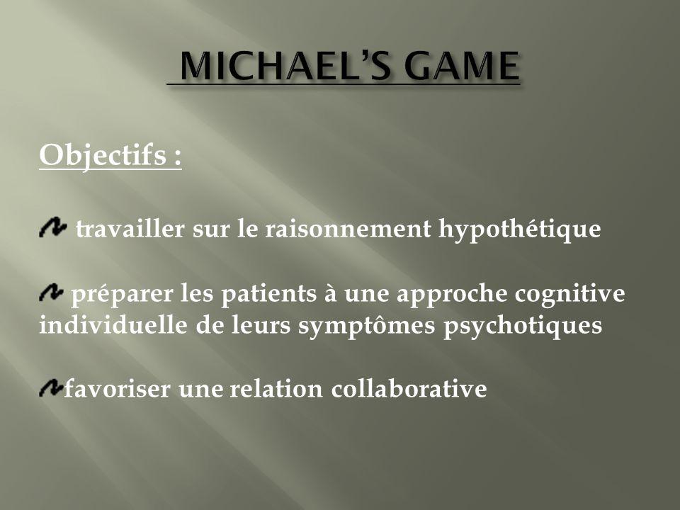Objectifs : travailler sur le raisonnement hypothétique préparer les patients à une approche cognitive individuelle de leurs symptômes psychotiques favoriser une relation collaborative