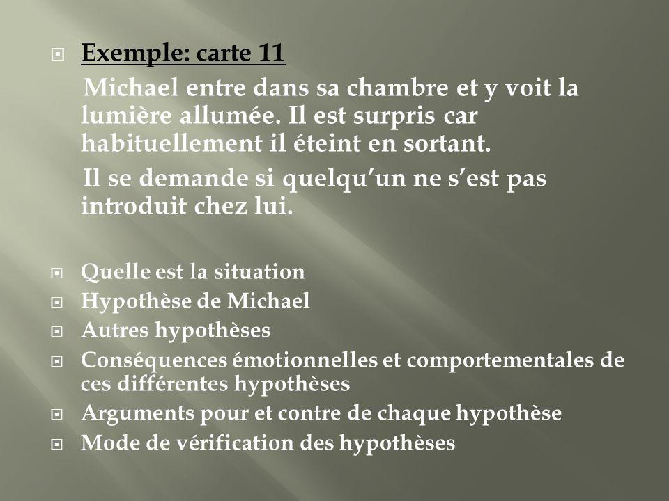 Exemple: carte 11 Michael entre dans sa chambre et y voit la lumière allumée. Il est surpris car habituellement il éteint en sortant. Il se demande si