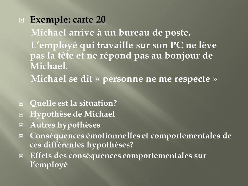 Exemple: carte 20 Michael arrive à un bureau de poste. Lemployé qui travaille sur son PC ne lève pas la tête et ne répond pas au bonjour de Michael. M
