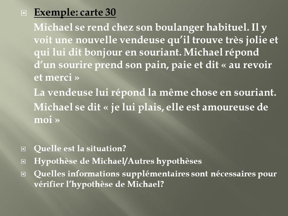 Exemple: carte 30 Michael se rend chez son boulanger habituel. Il y voit une nouvelle vendeuse quil trouve très jolie et qui lui dit bonjour en souria