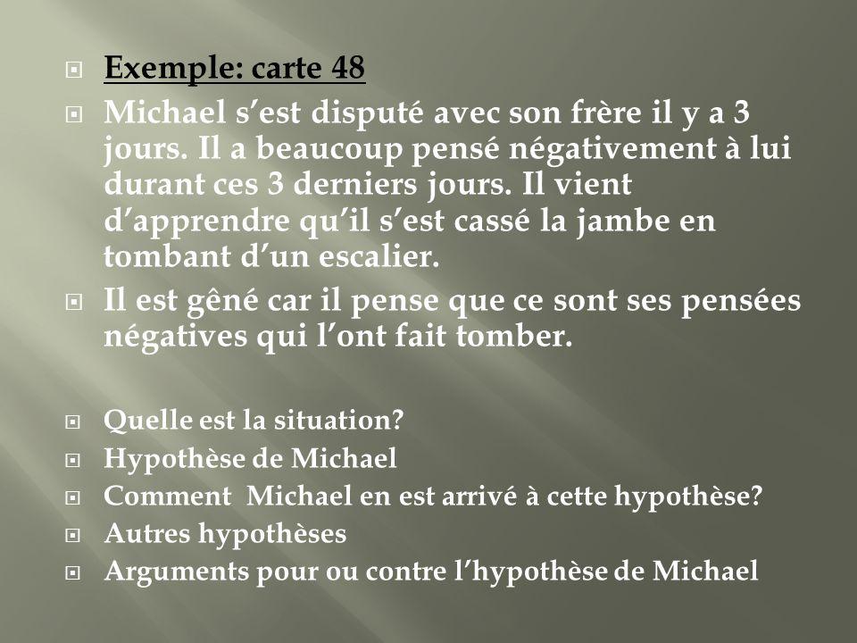 Exemple: carte 48 Michael sest disputé avec son frère il y a 3 jours. Il a beaucoup pensé négativement à lui durant ces 3 derniers jours. Il vient dap