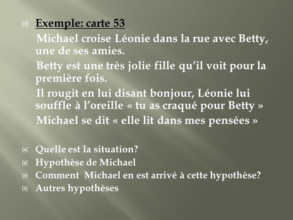 Exemple: carte 53 Michael croise Léonie dans la rue avec Betty, une de ses amies. Betty est une très jolie fille quil voit pour la première fois. Il r