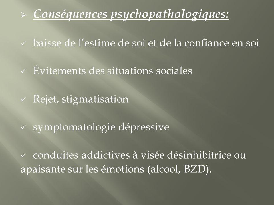 Conséquences psychopathologiques: baisse de lestime de soi et de la confiance en soi Évitements des situations sociales Rejet, stigmatisation symptomatologie dépressive conduites addictives à visée désinhibitrice ou apaisante sur les émotions (alcool, BZD).