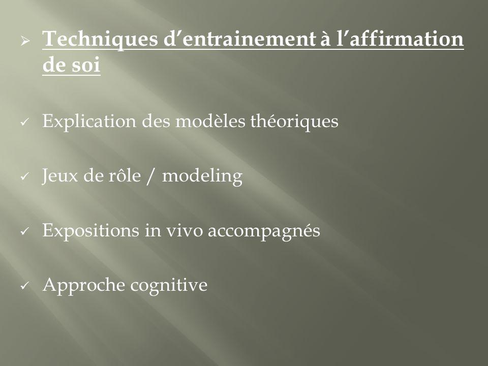 Techniques dentrainement à laffirmation de soi Explication des modèles théoriques Jeux de rôle / modeling Expositions in vivo accompagnés Approche cognitive