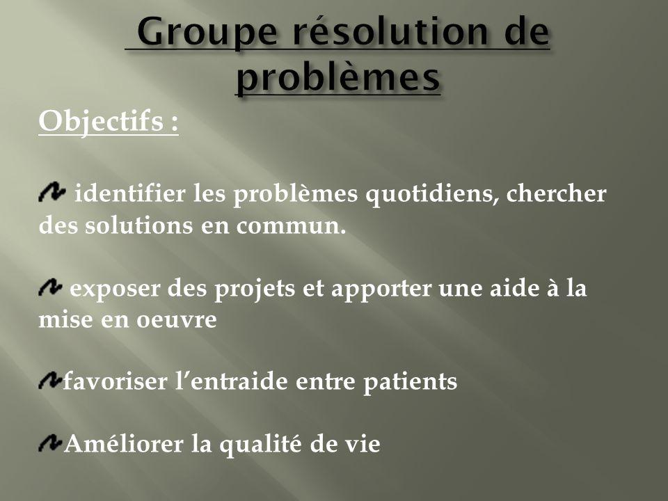 Objectifs : identifier les problèmes quotidiens, chercher des solutions en commun. exposer des projets et apporter une aide à la mise en oeuvre favori