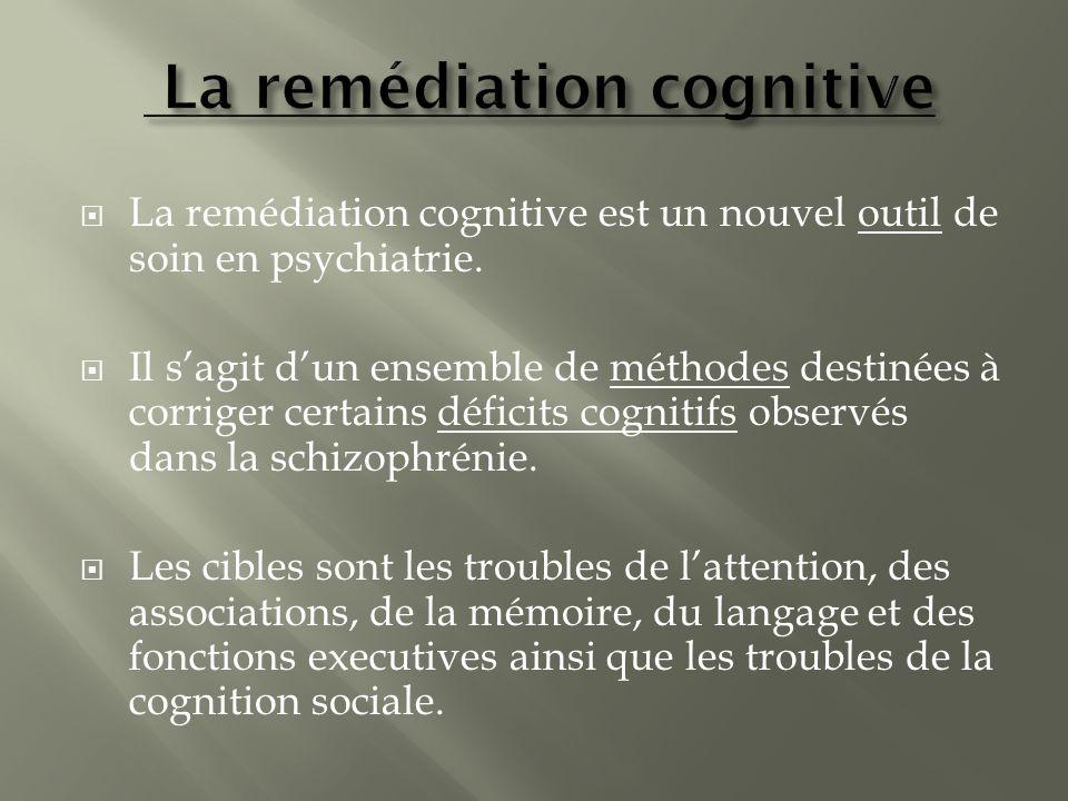 La remédiation cognitive est un nouvel outil de soin en psychiatrie. Il sagit dun ensemble de méthodes destinées à corriger certains déficits cognitif