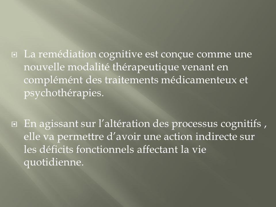 La remédiation cognitive est conçue comme une nouvelle modalité thérapeutique venant en complémént des traitements médicamenteux et psychothérapies. E