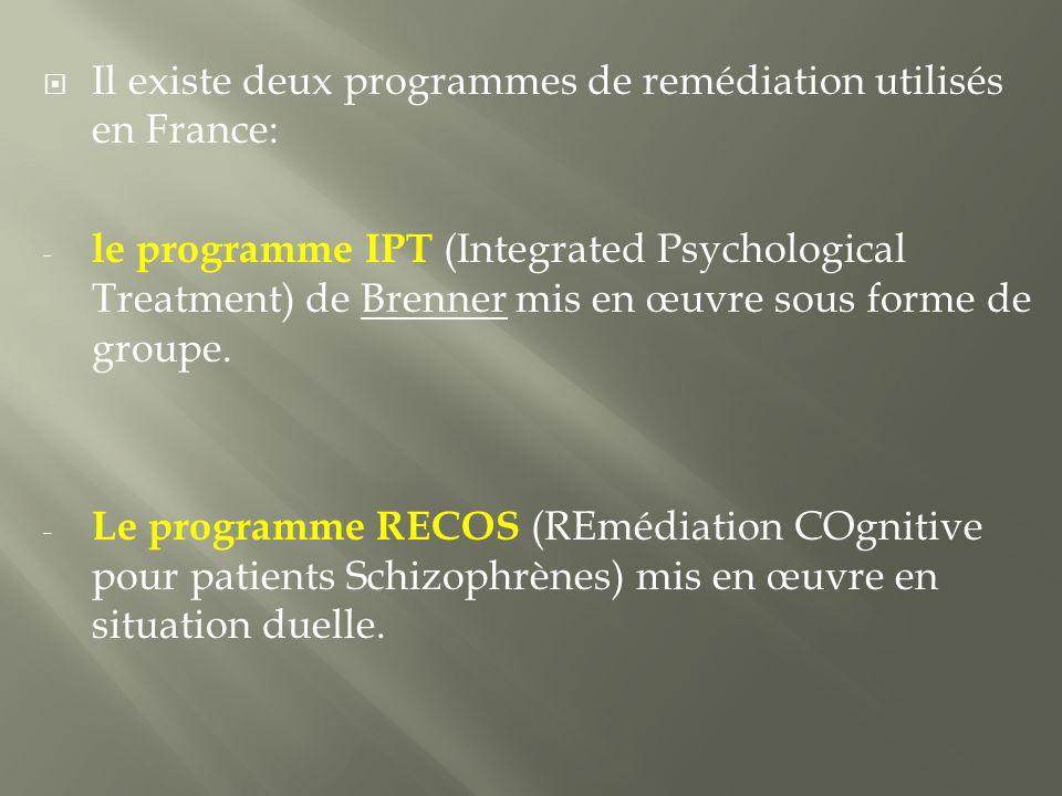 Il existe deux programmes de remédiation utilisés en France: - le programme IPT (Integrated Psychological Treatment) de Brenner mis en œuvre sous forme de groupe.
