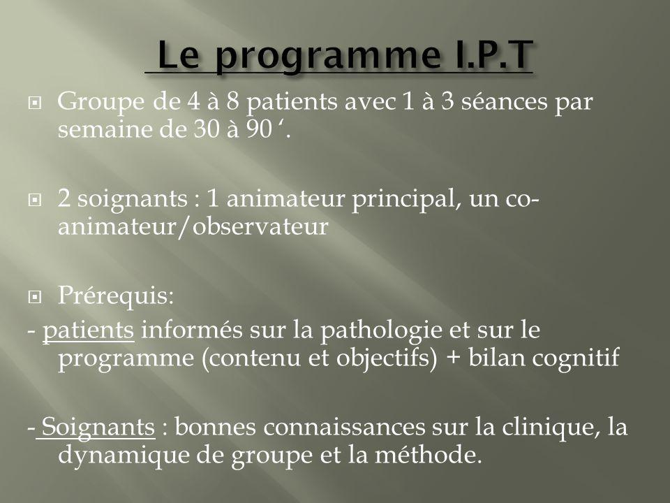 Groupe de 4 à 8 patients avec 1 à 3 séances par semaine de 30 à 90. 2 soignants : 1 animateur principal, un co- animateur/observateur Prérequis: - pat