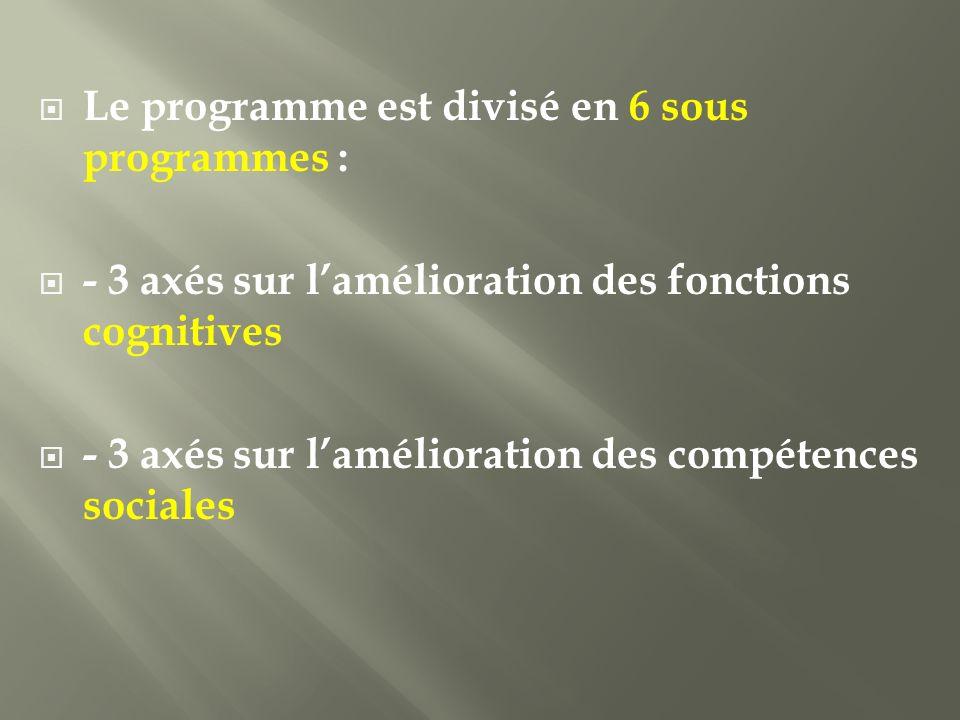 Le programme est divisé en 6 sous programmes : - 3 axés sur lamélioration des fonctions cognitives - 3 axés sur lamélioration des compétences sociales