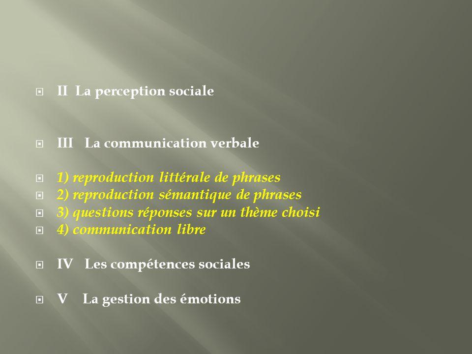 II La perception sociale III La communication verbale 1) reproduction littérale de phrases 2) reproduction sémantique de phrases 3) questions réponses