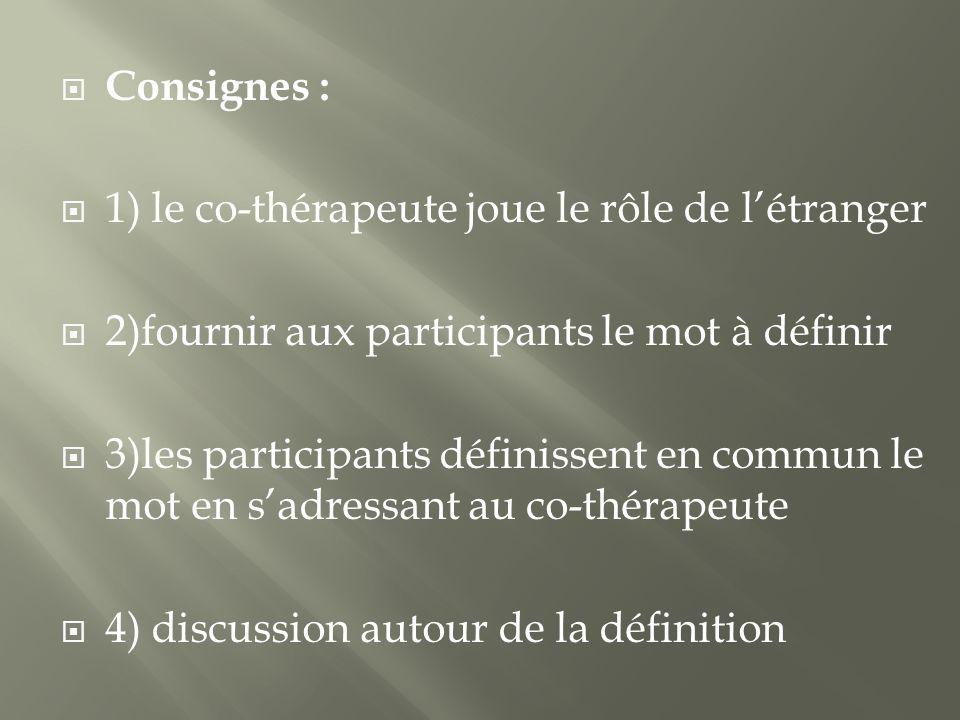 Consignes : 1) le co-thérapeute joue le rôle de létranger 2)fournir aux participants le mot à définir 3)les participants définissent en commun le mot en sadressant au co-thérapeute 4) discussion autour de la définition