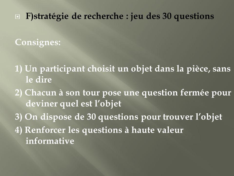 F)stratégie de recherche : jeu des 30 questions Consignes: 1) Un participant choisit un objet dans la pièce, sans le dire 2) Chacun à son tour pose un
