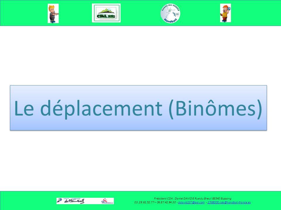 Le déplacement (Solo) Président CDA : Daniel DAVID 8 Rue du Breuil 88540 Bussang 03.29.61.52.77 – 06.87.42.94.30 - ddavid237@aol.com - 1588000.cda@han