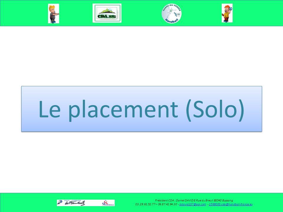 Le placement (Solo) Président CDA : Daniel DAVID 8 Rue du Breuil 88540 Bussang 03.29.61.52.77 – 06.87.42.94.30 - ddavid237@aol.com - 1588000.cda@handball-france.euddavid237@aol.com1588000.cda@handball-france.eu
