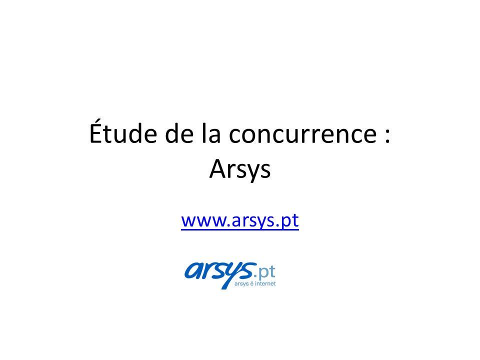Étude de la concurrence : Arsys www.arsys.pt
