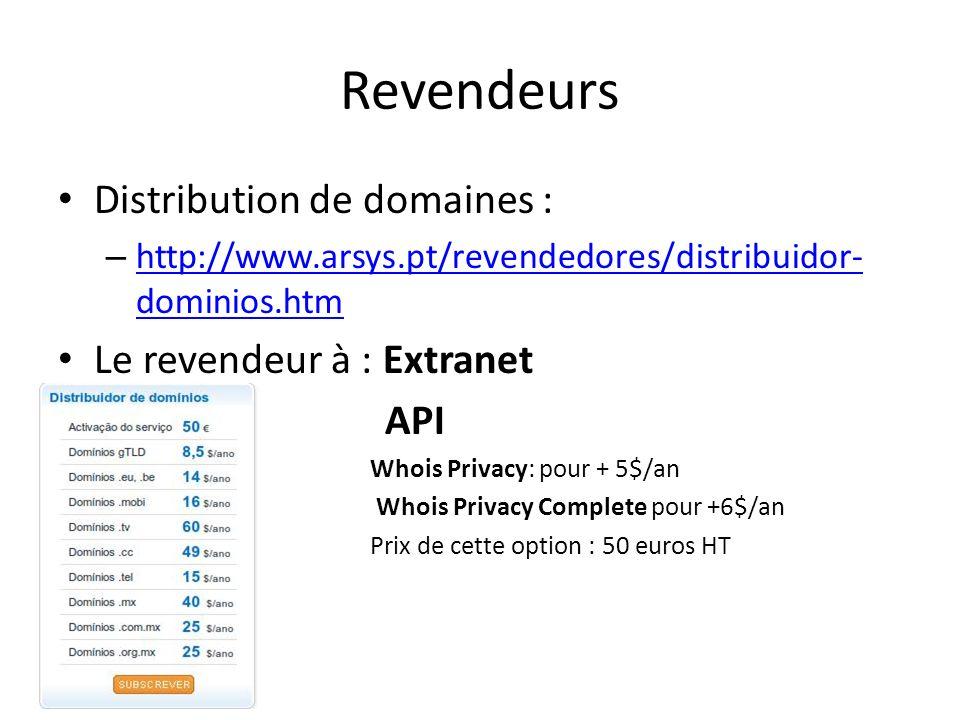 Revendeurs Distribution de domaines : – http://www.arsys.pt/revendedores/distribuidor- dominios.htm http://www.arsys.pt/revendedores/distribuidor- dom