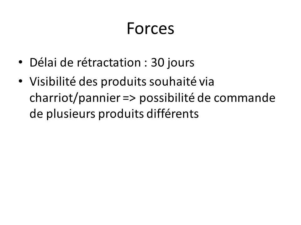 Forces Délai de rétractation : 30 jours Visibilité des produits souhaité via charriot/pannier => possibilité de commande de plusieurs produits différe