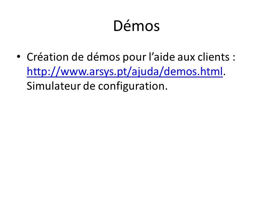 Démos Création de démos pour laide aux clients : http://www.arsys.pt/ajuda/demos.html. Simulateur de configuration. http://www.arsys.pt/ajuda/demos.ht