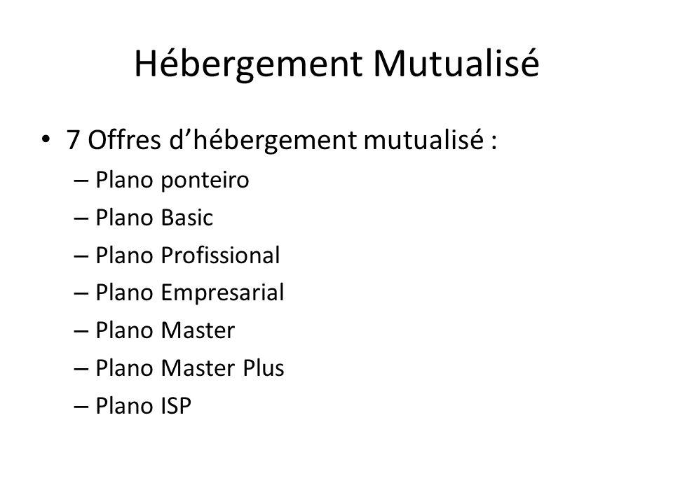 Hébergement Mutualisé 7 Offres dhébergement mutualisé : – Plano ponteiro – Plano Basic – Plano Profissional – Plano Empresarial – Plano Master – Plano