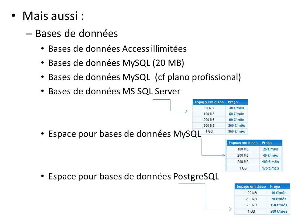 Mais aussi : – Bases de données Bases de données Access illimitées Bases de données MySQL (20 MB) Bases de données MySQL (cf plano profissional) Bases